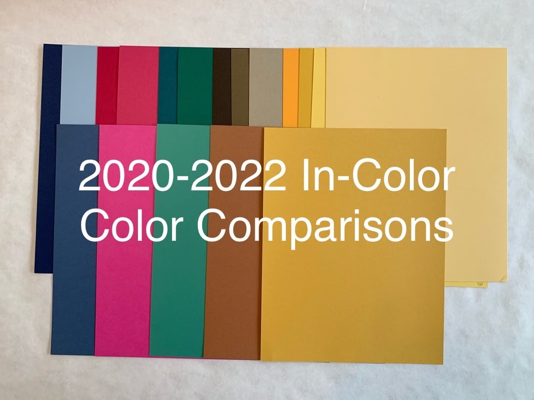 2020 in-color comparison, misty moonlight, just Jade, cinnamon cider, bumble bee, magenta Madness, Stampin up