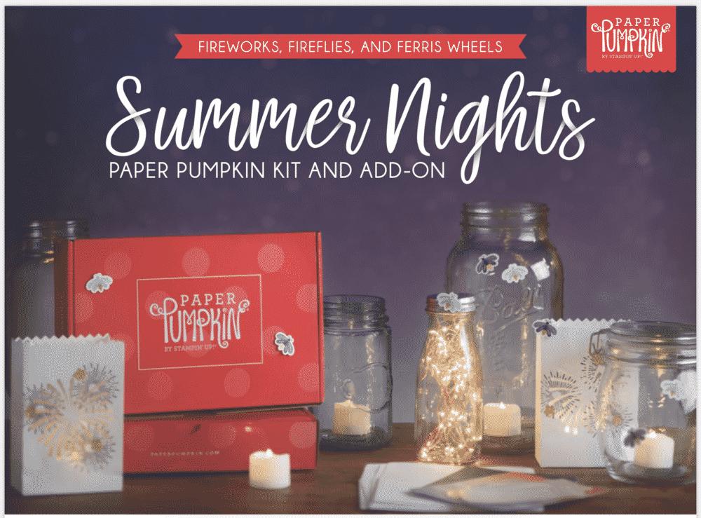 July 2020 Summer Nights Paper Pumpkin Stampin Up cards crafts