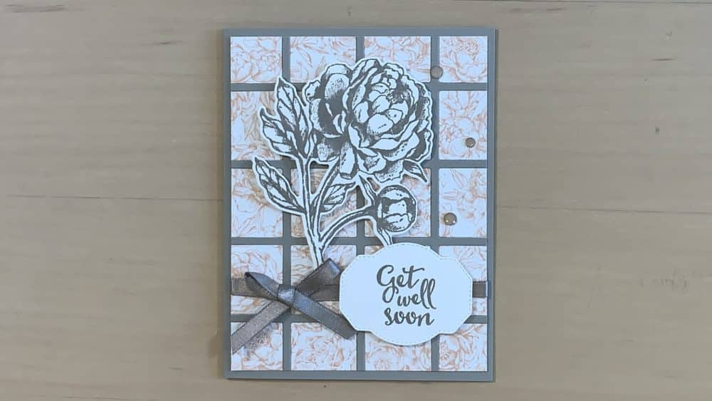 Prized Peony Get Well Card grid Best Year dies Stampin Up 2020