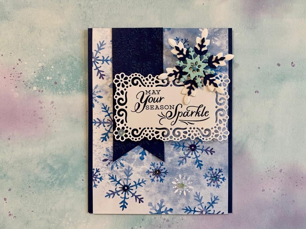 Stampin Up handmade christmas card idea sparkly snowflake splendor
