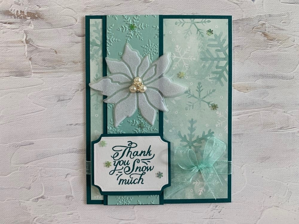 Snowflake Splendor Poinsettia Christmas card handmade card idea Stampin Up mini holiday catalog