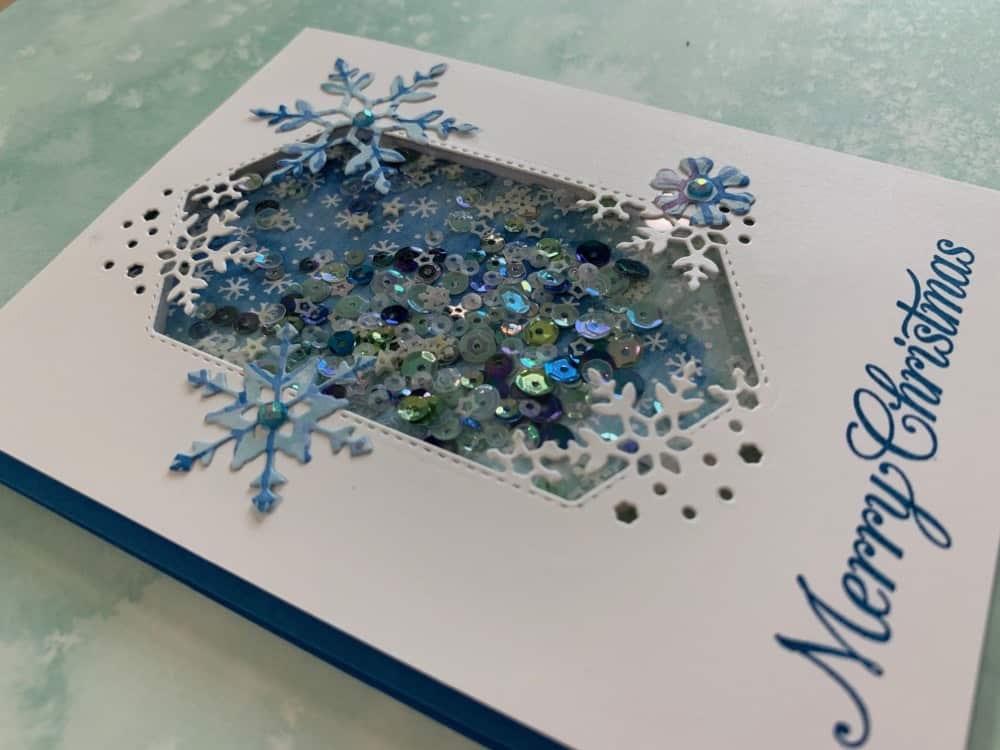 Stampin Up handmade Christmas card idea snowflake splendor shaker card