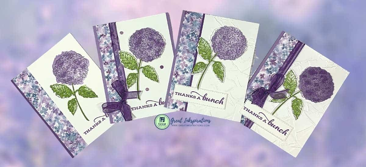 four different looks from 1 card design using Hydrangea Haven DSP from Stampin Up
