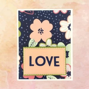 Fun Valentines Day Card for a young (or young at heart) woman in navy, petal pink, and bright green