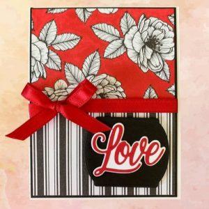 Striking red, black, and white handmade Valentines Day Card