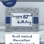 Masculine birthday card in navy and grey paisley