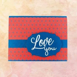 masculine valentines card in red and medium blue