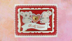 cute Valentines card featuring koala bears holding a heart from Dec 2020 Paper Pumpkin kit
