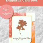 sympathy card with rose and orange paper with gold leaf edges