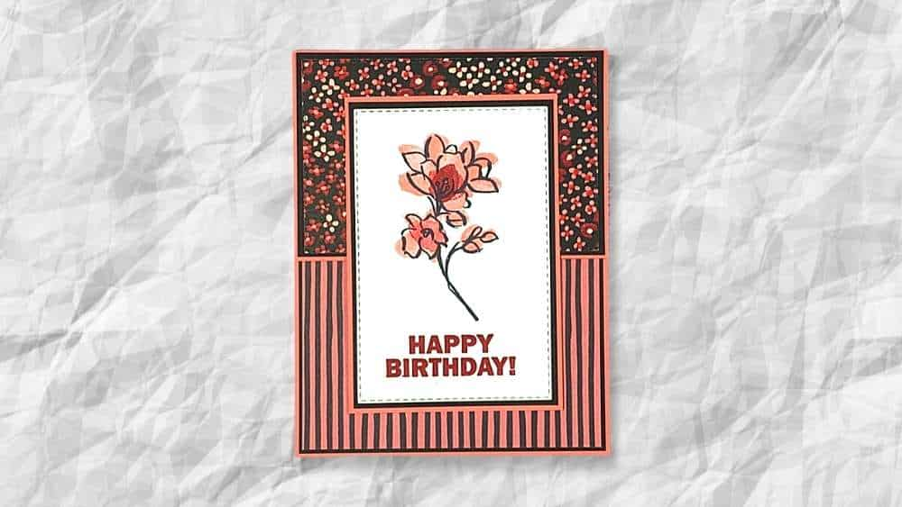 Flower and Field birthday card using A Touch of Ink