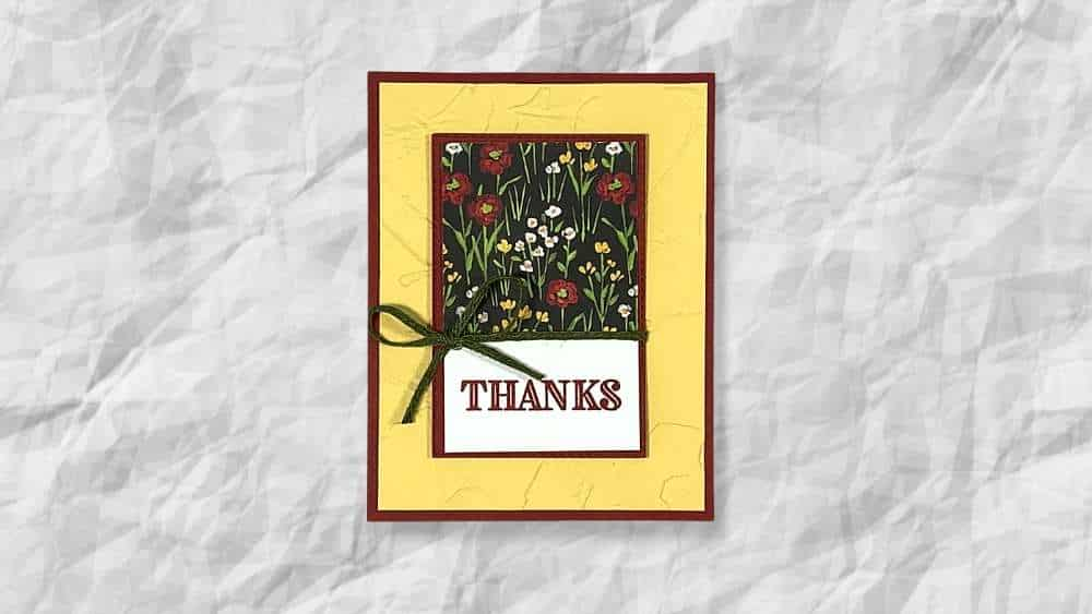 thank you card with flower and field dsp from Stampin Up 2021 Saleabration