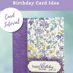 floral birthday card in purple
